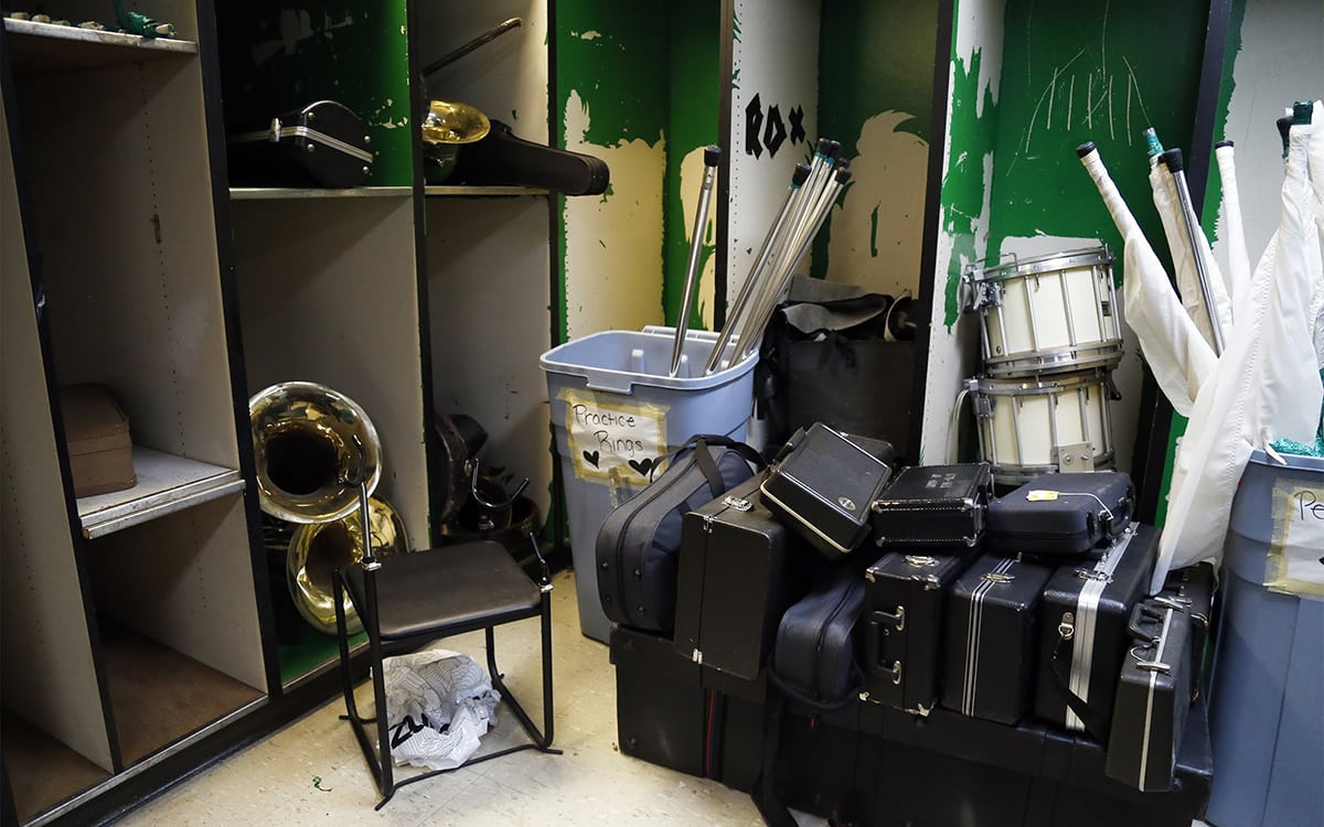Seen here in December 2017, instruments that need repairs are kept in a storage room at Sto-Rox Junior-Senior High School. (Photo by Ryan Loew/PublicSource)