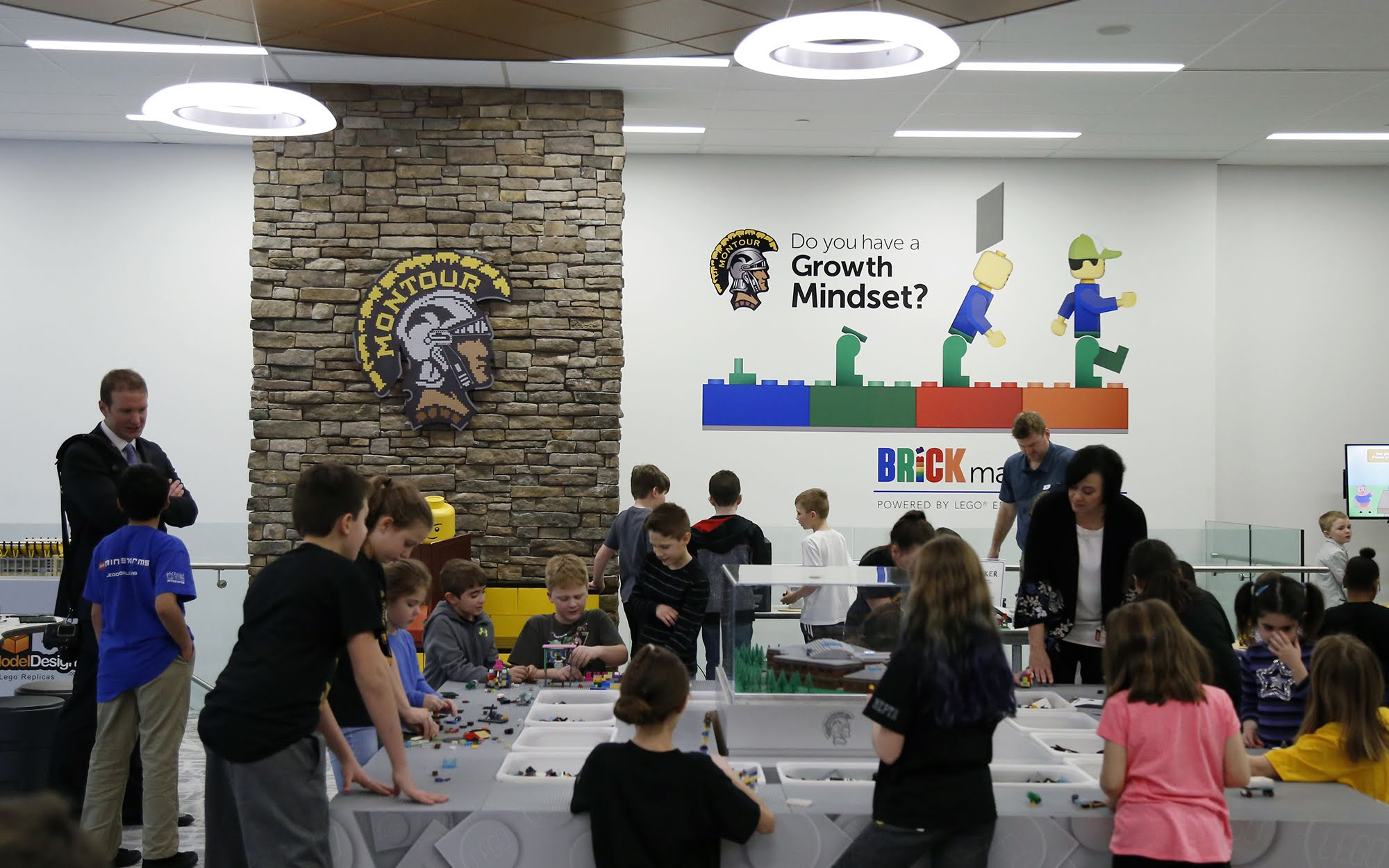 Students build with Legos inside the Brick Makerspace, a room filled with Legos and other building materials and equipment at Montour Elementary on Feb. 22, 2018.