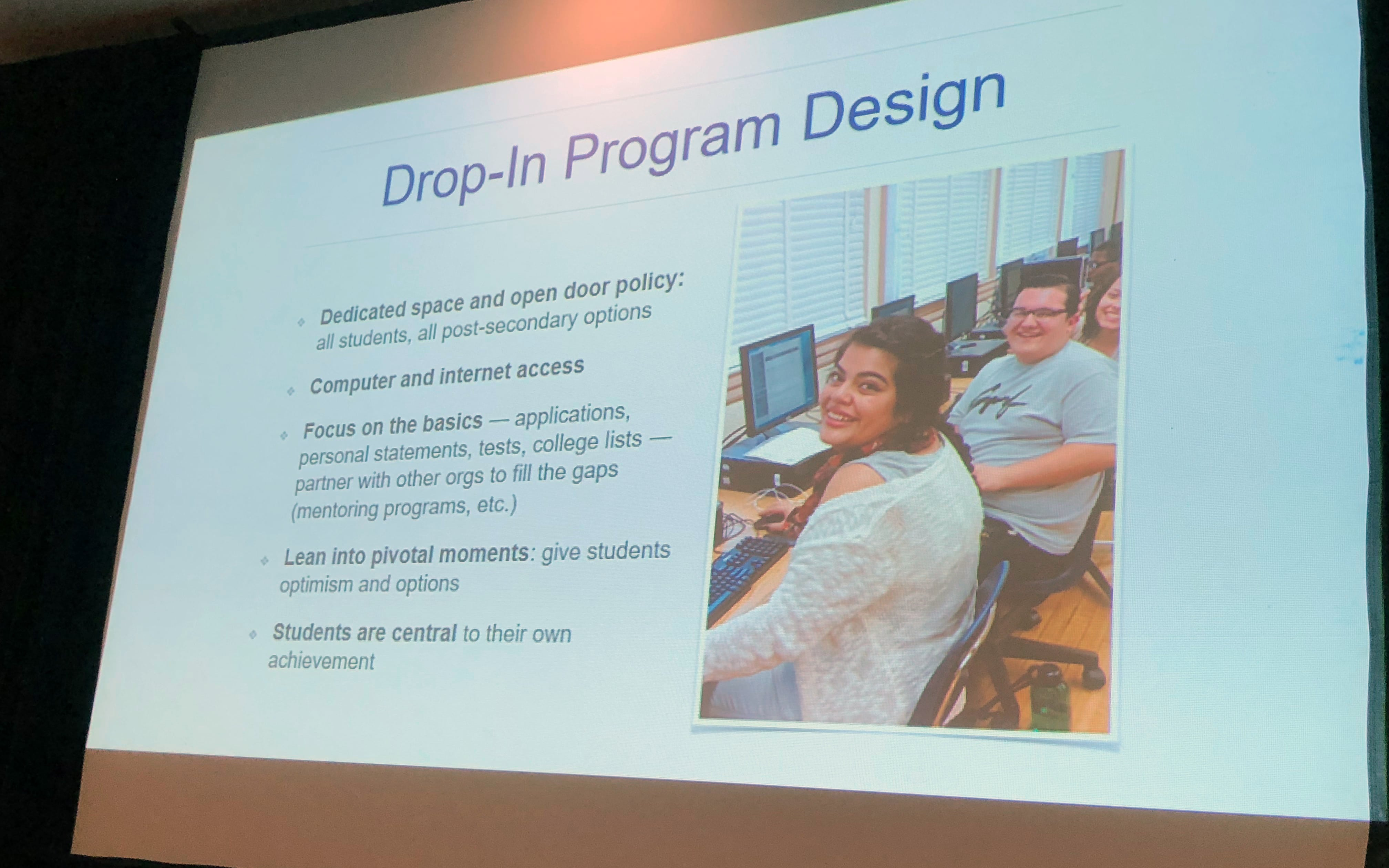 "Project SOAR utilizes a ""drop-in"" model from College Access Plan for its Los Angeles program focused on students ages 15 to 20 in public housing complexes. The presenters included a photo of participating students."