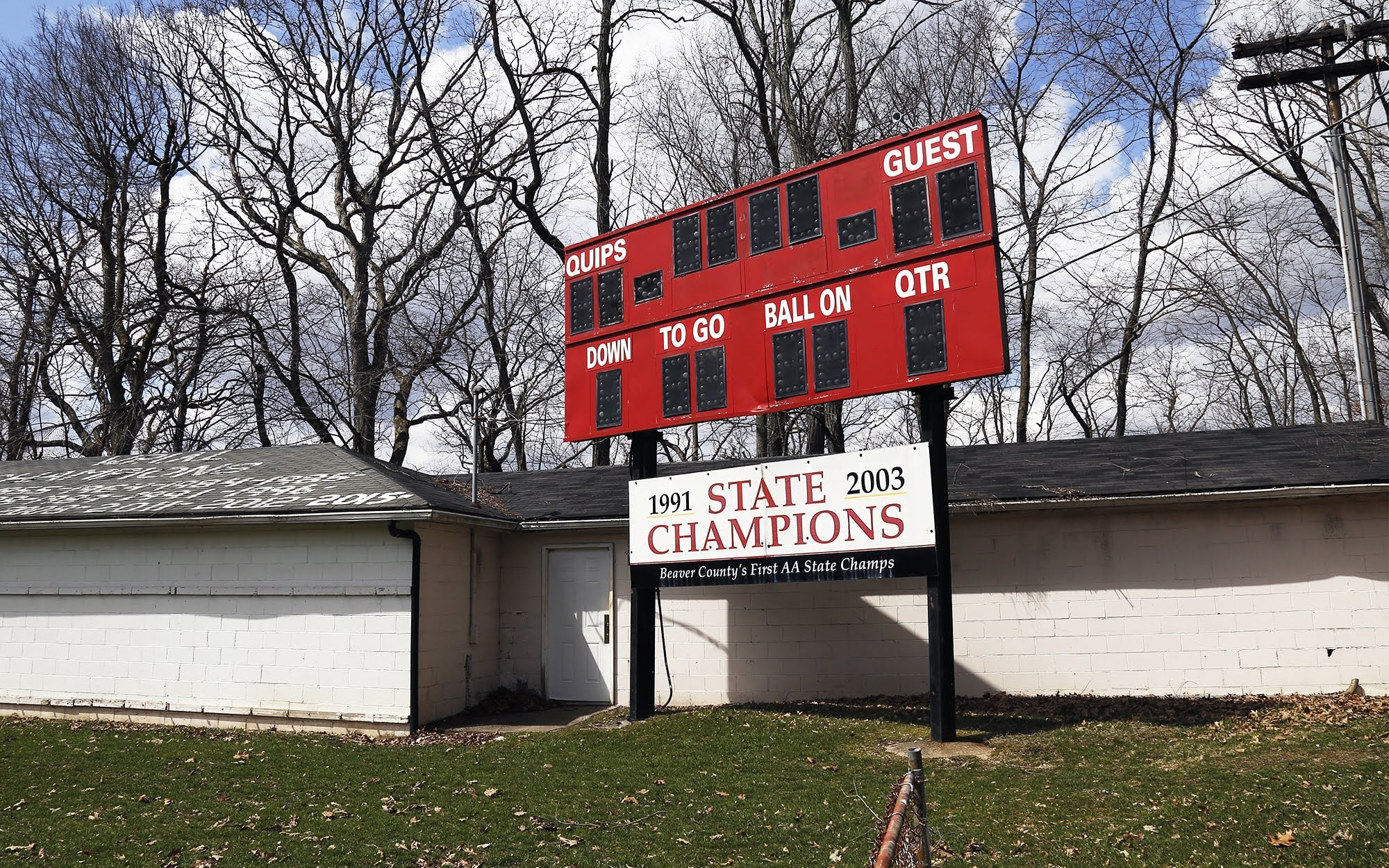 A scoreboard on the Aliquippa Junior-Senior High School football field.