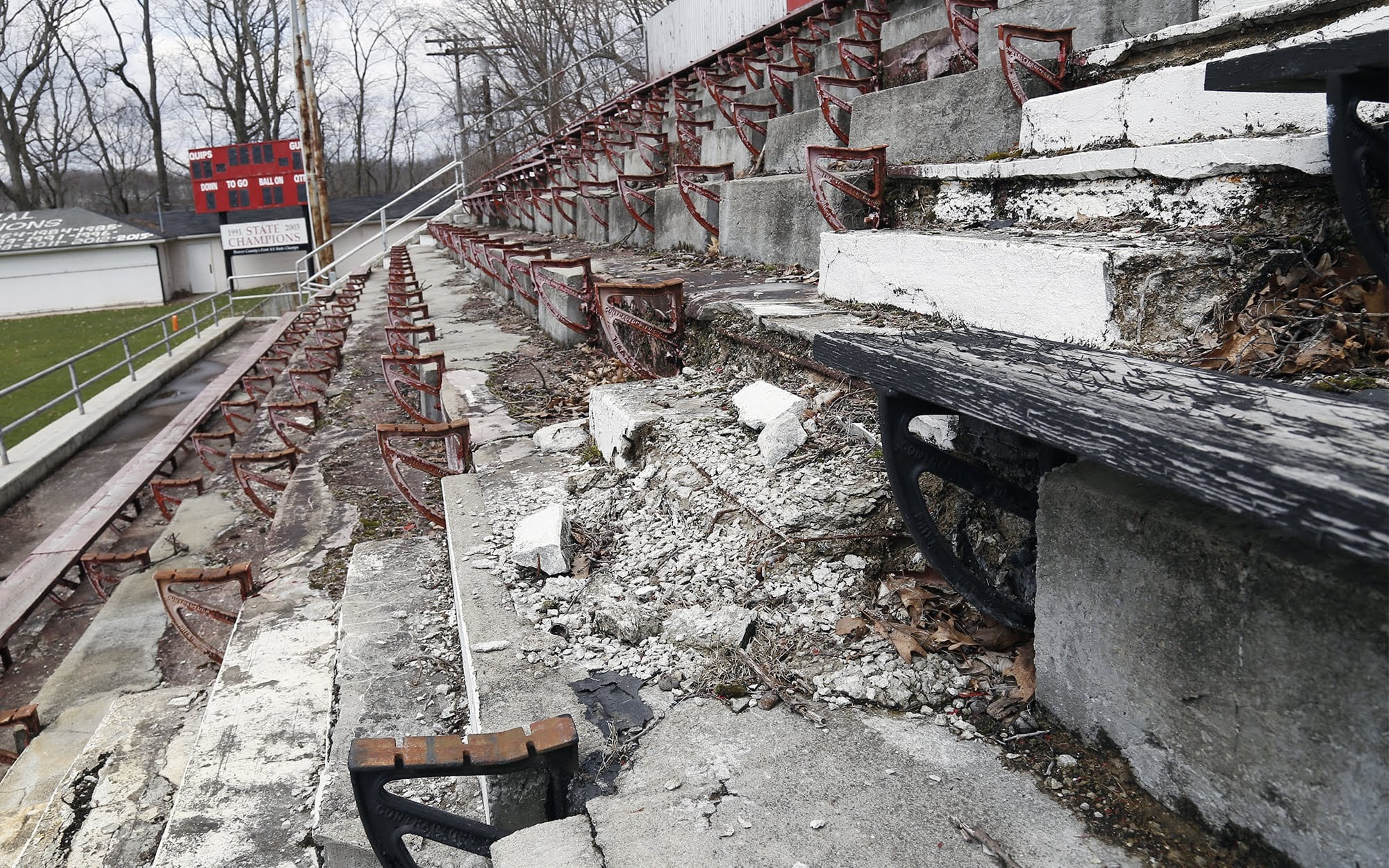 Crumbling steps can be seen on the visitors bleachers at Aliquippa Junior/Senior High School's football field. The section has been permanently closed.
