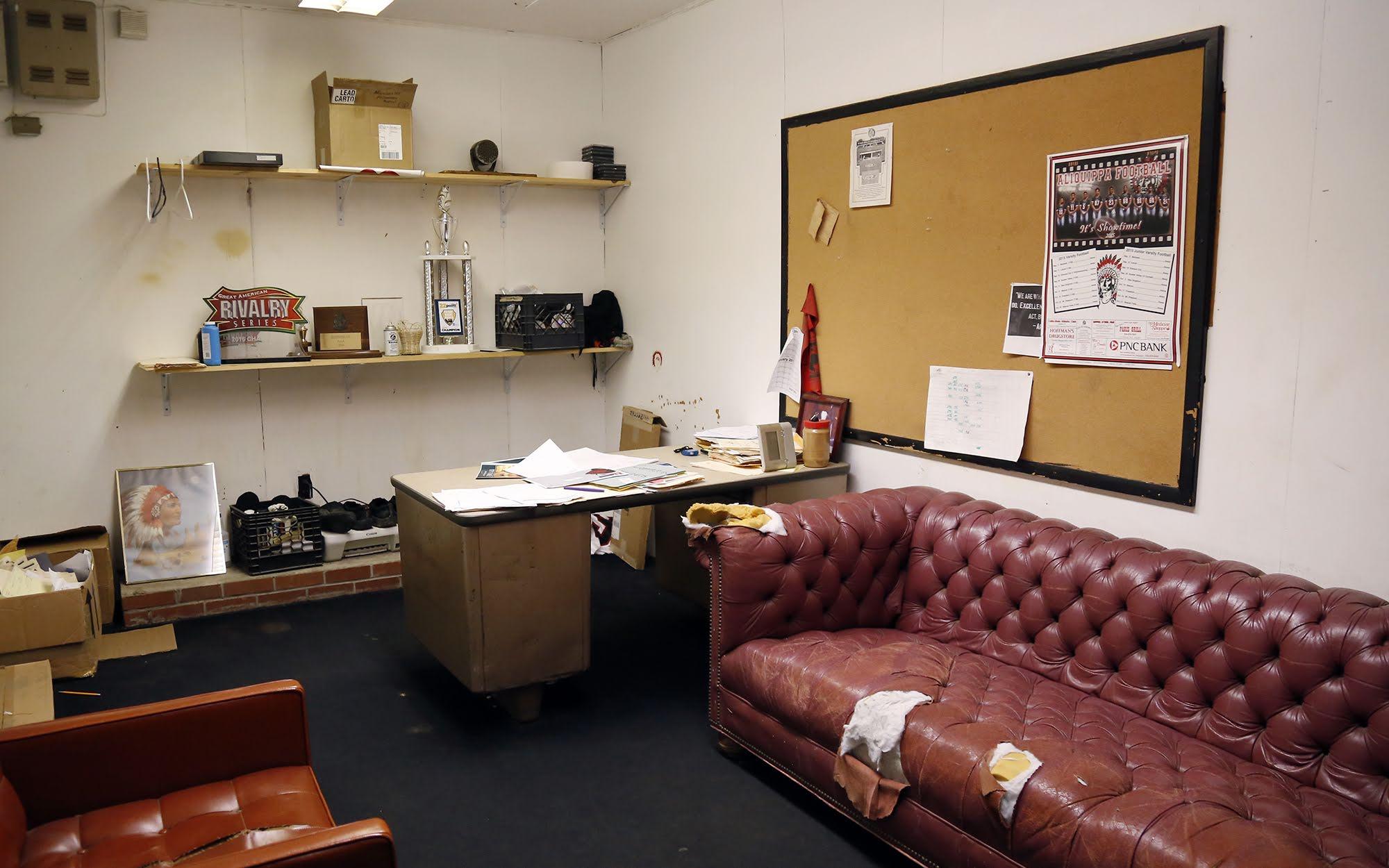 A coach's office in the Aliquippa Junior/Senior High School fieldhouse.