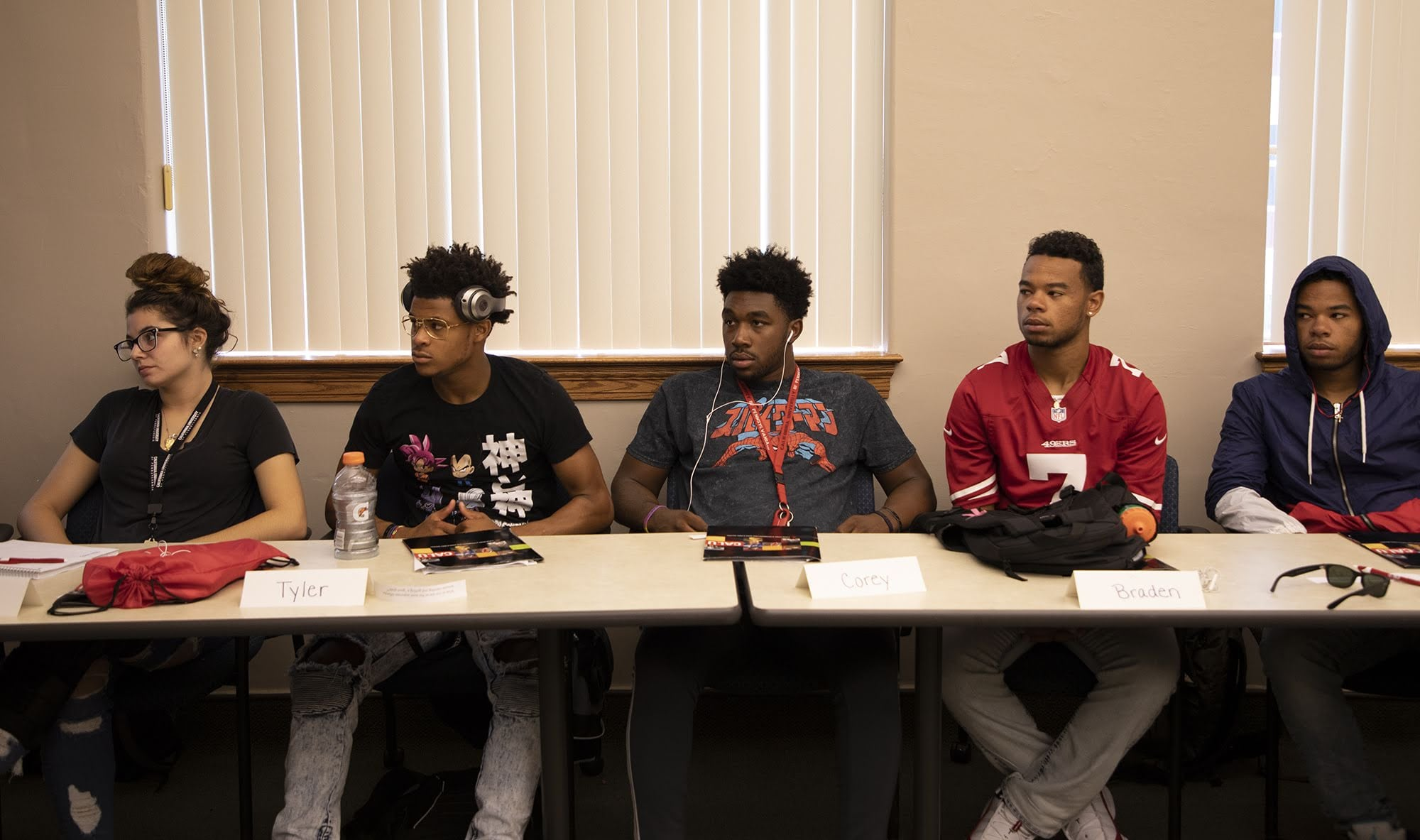 From left to right: Erica Thorniley, Tyler Walker, Corey Thomas, Braden Simpson and Brycen Simpson watch a presentation at California University of Pennsylvania during the Summer Success Academy. The pilot program is meant to help upcoming freshman who seek extra college preparation prior to classes beginning in the fall semester.