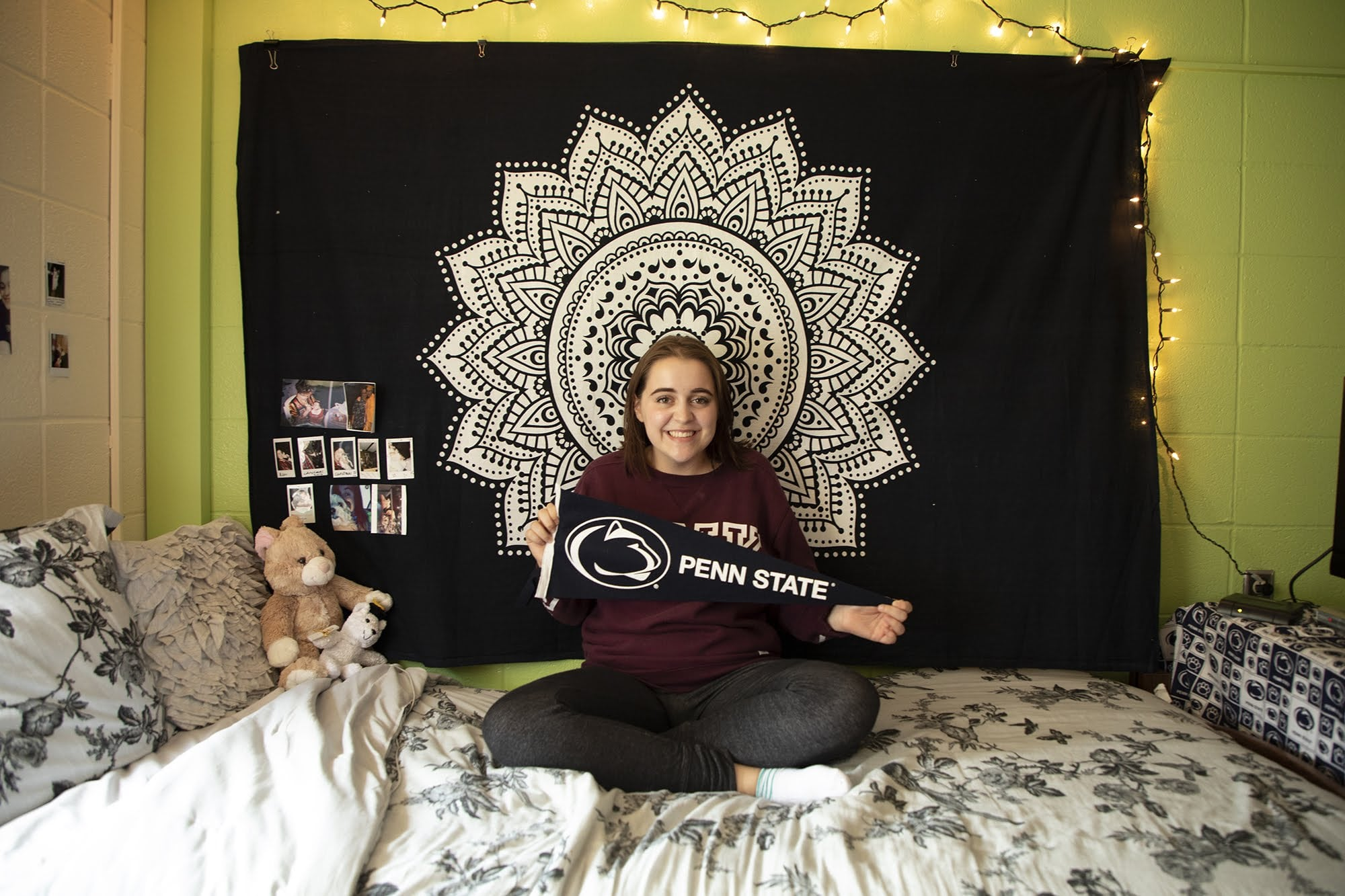 Lorin Ballog, 18, of West Mifflin, poses for a portrait in her dorm room at Penn State Greater Allegheny.